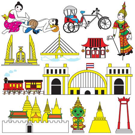 タイのアイコンと記号図セット