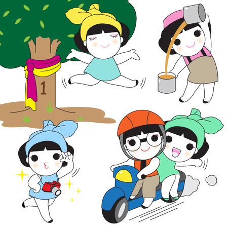 Thai Character Expressions illustration set