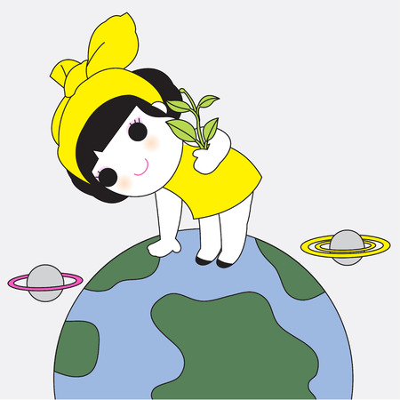 green little planet earth: Save The Earth Character illustration