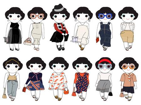 wonder: Trendy Fashion Wonder Girls Character Set illustration Illustration