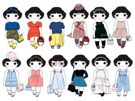 trouser: Trendy Fashion Wonder Girls Character Set illustration Illustration