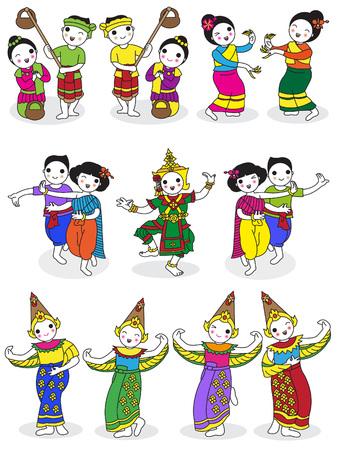 thai dance: Traditional Thai Dancers character illustration set Illustration