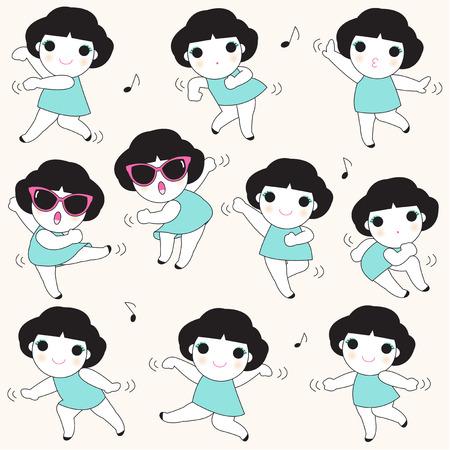 tied girl: Fun Dancing Girls Character illustration