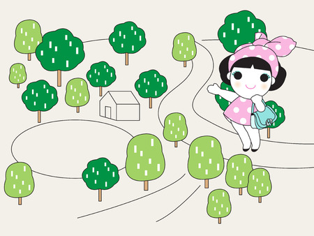 boulevard: Happy Walk Home Character illustration