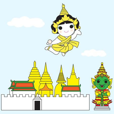 stupa: Thai Goddess Of Lightning Flying Over Temple of Emerald Buddha illustration