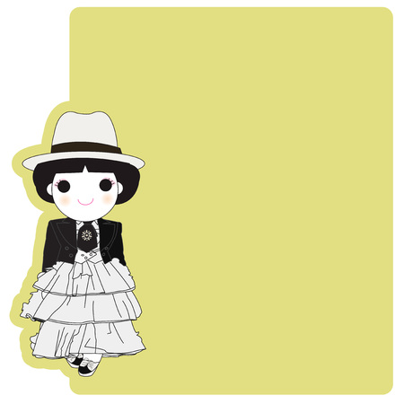 paper note: Vintage Style Fashionista Girl Character Paper Note illustration