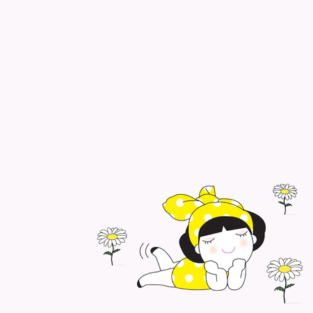 lie down: Young Pretty Girl Laying On The Daisy Flowers Field Character Paper Note illustration