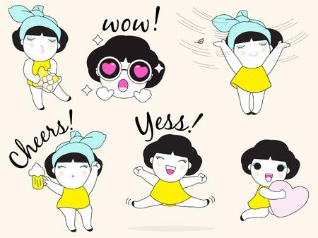 girl glasses: Cute Girls Character Set illustration