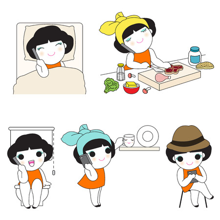 chat room: Positions When Using Smartphone At Home Character illustration set