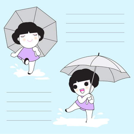 paper note: Enjoy The Rain Character Paper Note illustration Illustration