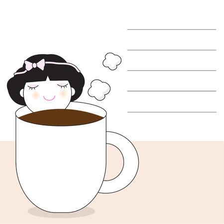 Dimenticate Amore, Fall In caffè carattere carta Nota illustrazione Vettoriali