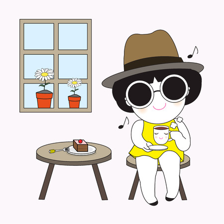 sipping: Sipping Weekend Coffee Character illustration