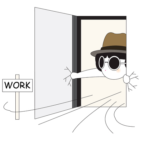I Do not Want To Work Ilustración del carácter
