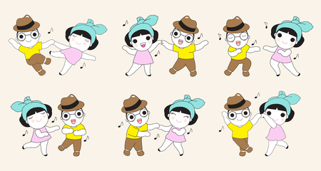 jazz time: Dancing Boy and Girl Character illustration Set