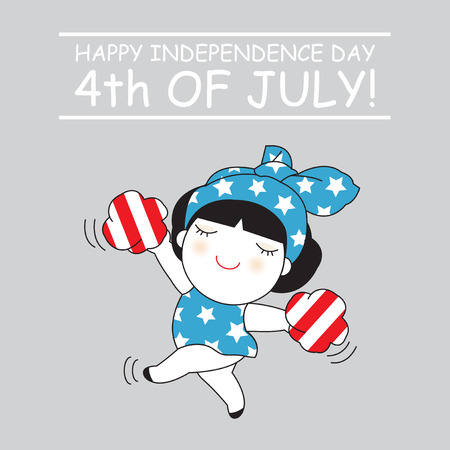 Happy Independence Day Fourth Of July Character Card illustration
