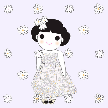 simple purity flowers: Pretty Flower Girl Card Character illustration Illustration