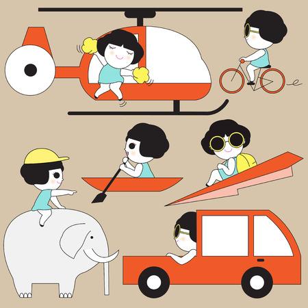 Cute Transportation Icon Character illustration