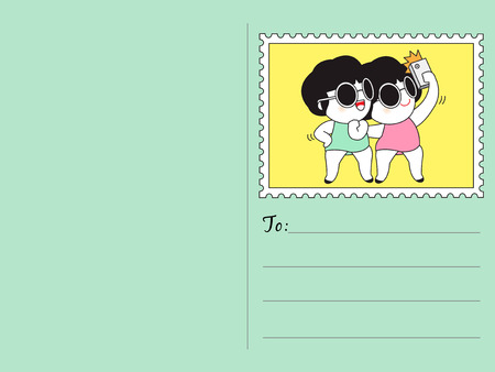 i miss you: I Miss You My Best Friend Selfies Stamp Postcard Character illustration