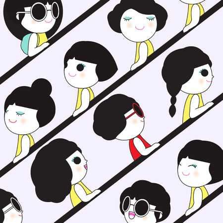 shoppers: Women Shoppers On Crowded Escalator In Shopping Mall Character illustration