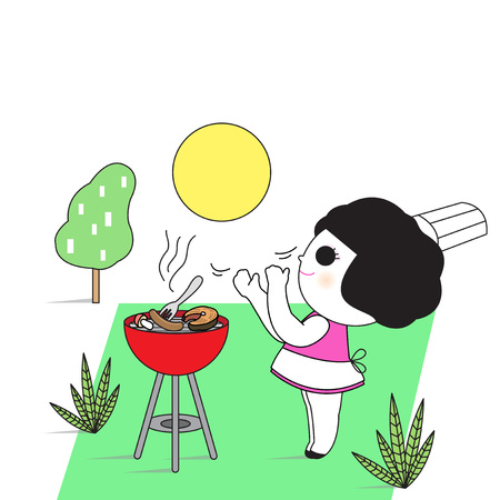 handcuffs female: I Do Backyard Barbecue Party Character Invitation Card Paper Note illustration Illustration