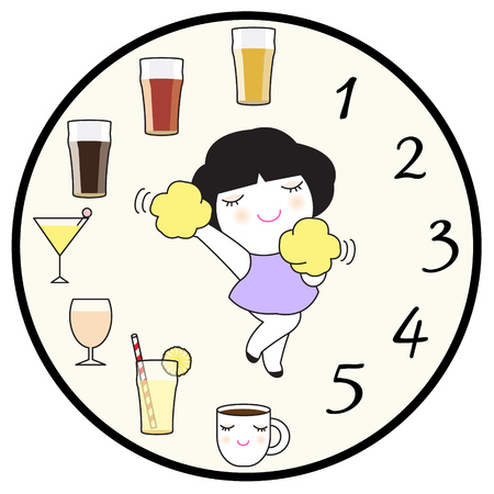 caffeine free: Happy Time Character illustration