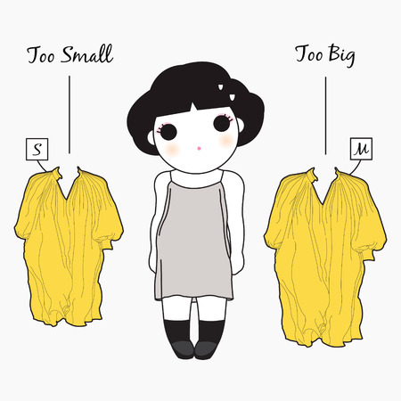 struggle: The Struggle Of An In Between Size Girl Character illustration