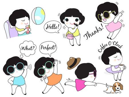 hi hat: Daily Life Female Character illustration set