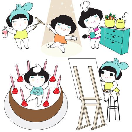 Weekend Life Character illustration set Illustration