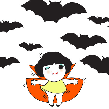 Halloween Bats And A Cute Vampire Girl Card Character illustration Illustration