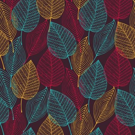 カラフルな抽象的なシームレスな様式化されたパターンを葉します。  イラスト・ベクター素材