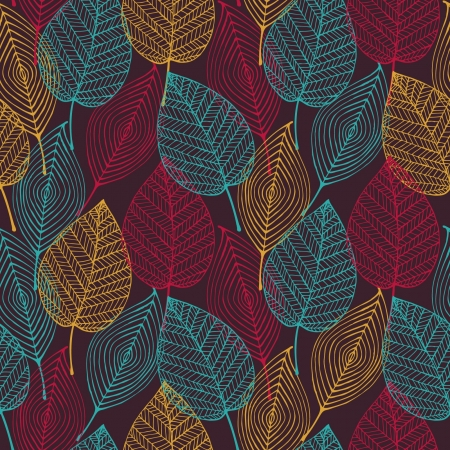 Colorful abstract seamless stylized pattern with leaves