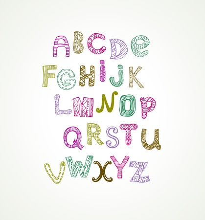 Ornamental cute colorful stylized alphabet Vector