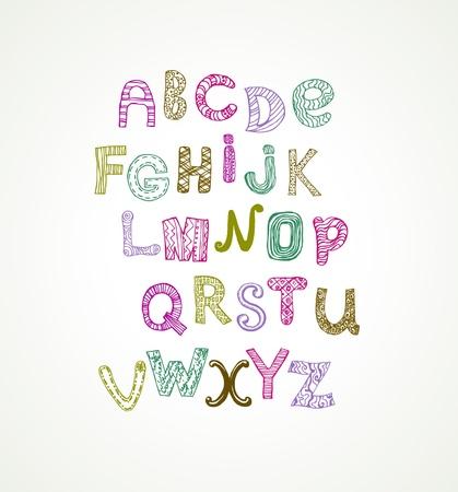 Ornamental cute colorful stylized alphabet