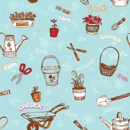 flowerpot: Seamless pattern with garden tools on blue background Illustration