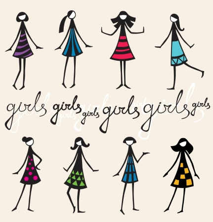 Illustration set  Different silhouelle girls in colorful gresses