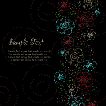 Template black background with place for your text  Text background with colorful stylized fantasy elements, dot flowers and spirals  Stock Vector - 15090598