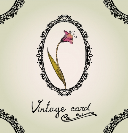 Vintage greeting card template with lace text frame and floral illustration  Illustration with ornamental flower