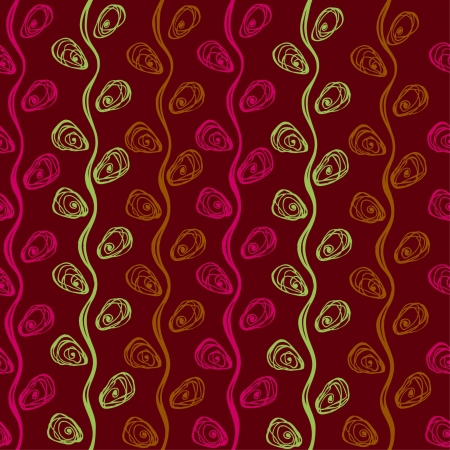 textile image: Abstract seamless linear pattern with weaving fantasy decorative colorful plants on dark background