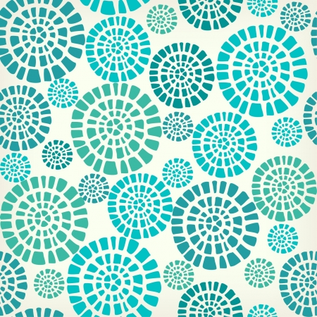 circle design: Abstract seamless pattern with blue circle elements  Ethnic summer texture