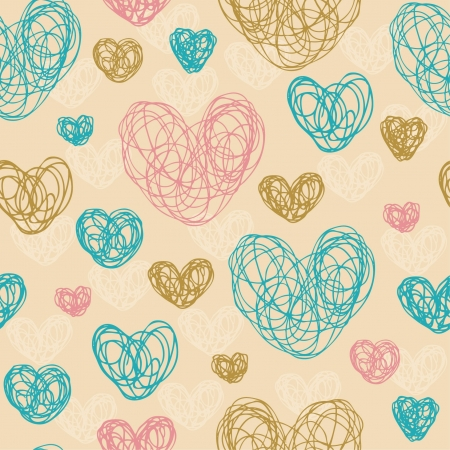 Seamless abstract colorful pattern with decorative hearts  Template illustrated background for design card, cover, textile Illustration
