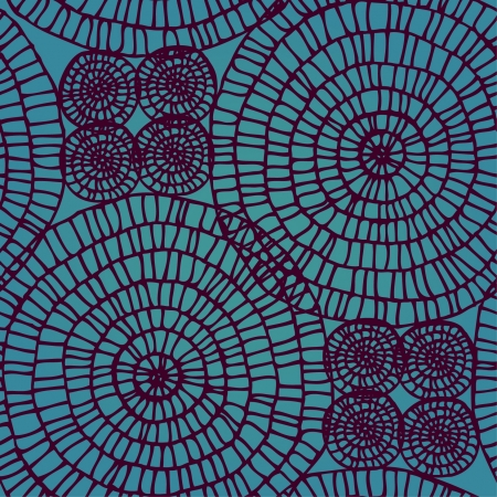 Abstract seamless swirl lace pattern  Circle texture on aquamarine background
