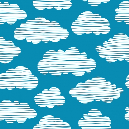 Abstract seamless pattern with white clouds on blue sky  Colorful stylized hand drawn cloudy sky texture Stock Vector - 15497809