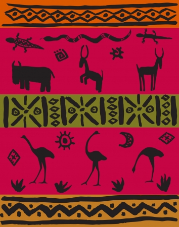 Illustration ethnic set  African stylized decorative animals and patterns