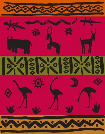 national border: Illustration ethnic set  African stylized decorative animals and patterns