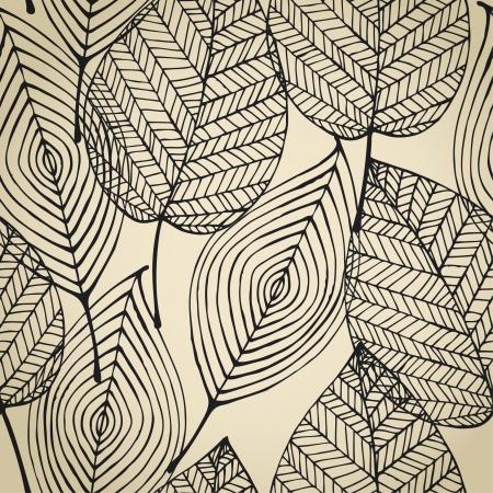 秋ベージュ シームレスな様式の葉パターン シームレスな装飾的なテンプレート テクスチャの葉を持つ  イラスト・ベクター素材