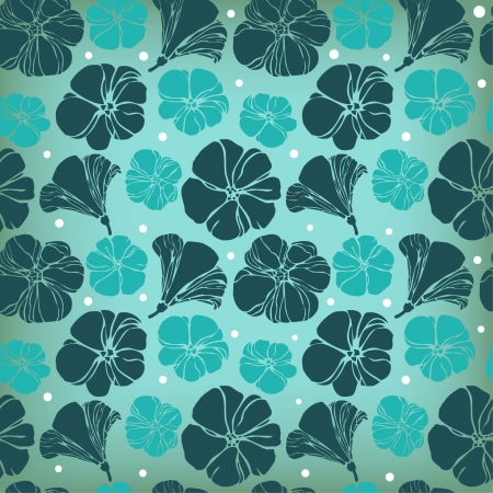Seamless floral blue pattern, retro texture with flowers Stock Vector - 15497834