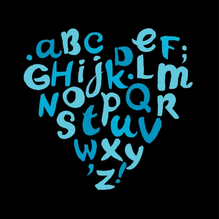 手書きの幼稚なアルファベット漫画落書きフォント  イラスト・ベクター素材