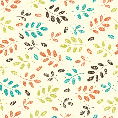 Seamless vintage autumn pattern with branches and leaves  Vector
