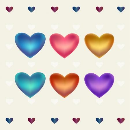 Illustration set  Colorful hearts, template for design
