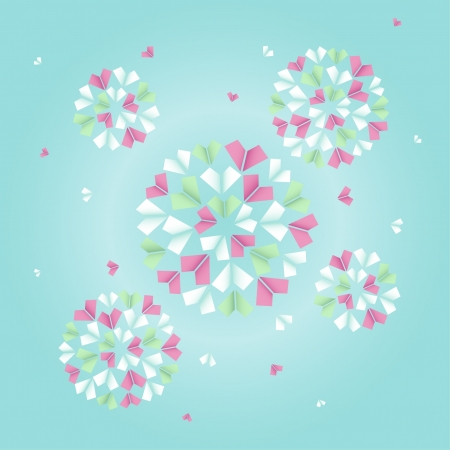 Stylized illustration of bouquet of origami pink, green and white flowers Stock Vector - 15497812